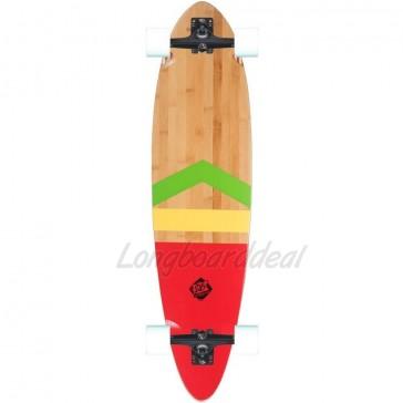 "DB Anthem Bamboo-Fiberglass Rasta Pintail 38"" longboard complete"