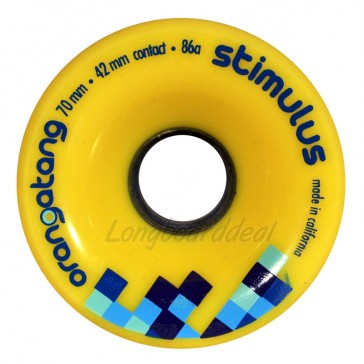 Orangatang Stimulus 70mm 86a Yellow longboard wielen